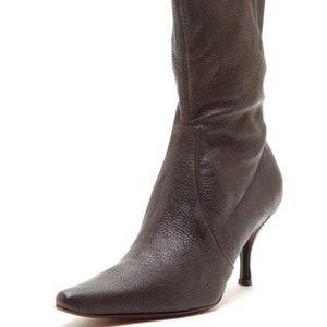 Donald pliner dark brown leather sock boots